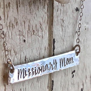 Missionary Mom Sterling Silver Bar Necklace