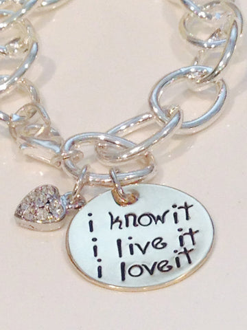 i know it... i live it ... i love it - Sister Missionary Bracelet