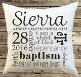 Personalized LDS Baptism Gift Pillow Cover - Pillow Case