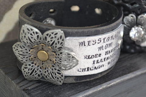 Personalized Leather Cuff - Missionary Mom / Grandma / Dad by Rustic Ashe