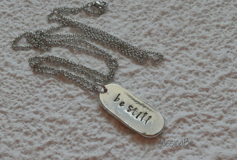 Rustic Pewter Personalized Oval Hand Stamped Necklace *