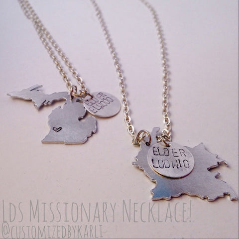 Custom Country/State and round drop hand stamped charm necklace