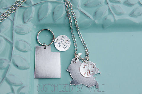 Custom Country/State necklace and Keychain for Missionary Mom/ Missionary Girlfriend
