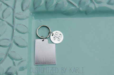 Missionary Country/State Keychain with a round Hand stamped Charm