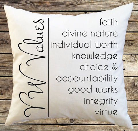 Young Woman Decorative Throw Pillow Cover - YW Values / Pillow Case