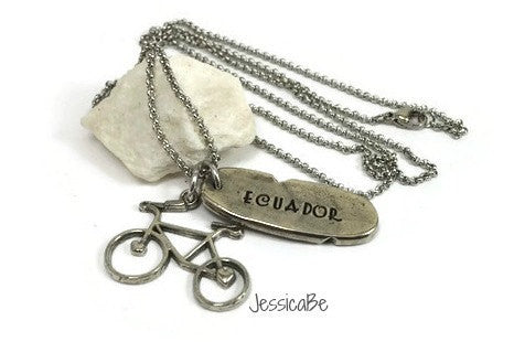 Missionary Necklace Travel Necklace Bicycle Charm