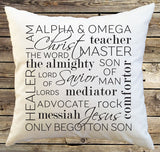 Names of Christ Decorative Throw Pillow Cover, christmas pillow