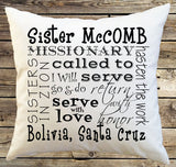 Sister or Elder Missionary farewell or homecoming gift. Personalized Decorative Throw Pillow Cover - Pillow Case, customized