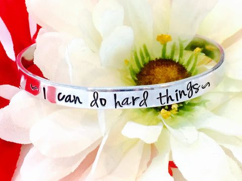 I can do hard things personalized hand stamped bracelet-inspirational bracelet-Motivational gift-Motivational Bracelet