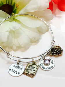 Hand Stamped Custom Sister Missionary Bracelet-Custom Bangle-Called to Serve Bracelet-LDS Missionary Gift-Called to Serve