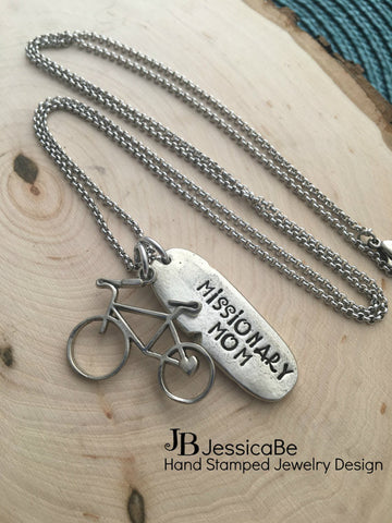Bike Necklace - Hand Stamped Necklace ~ Missionary Mom Necklace