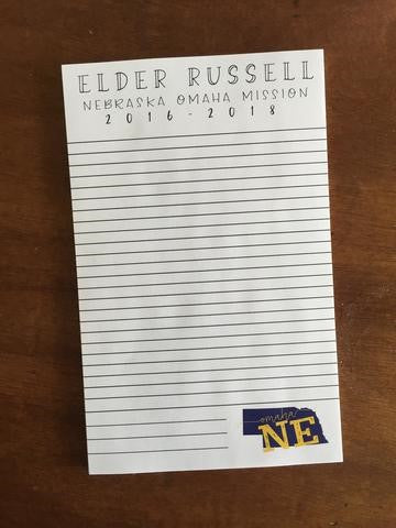 Missionary Notes - Custom Note Pad