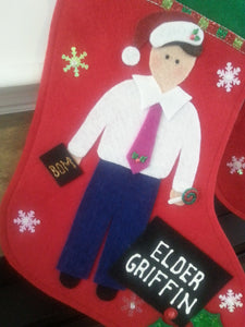 Elder Christmas Stocking - Customized Name Tag