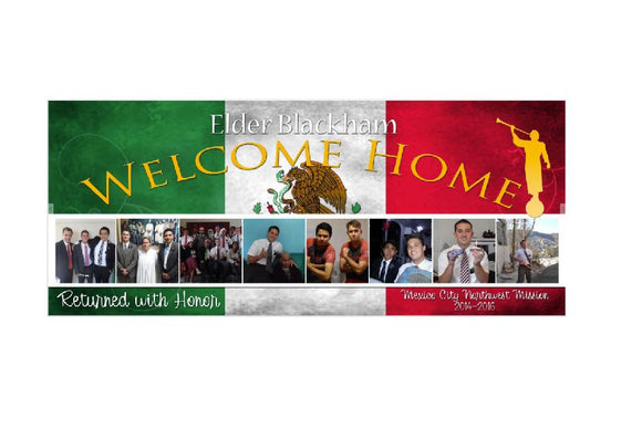 Large Missionary Banner 6' x 2.5' -- Custom with 8 pictures! **DIGITAL FILE