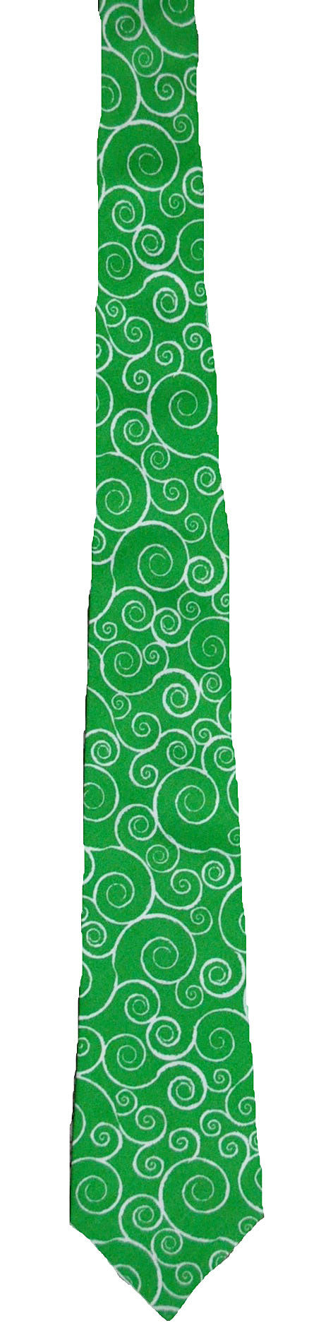 Green with White Swirls - Handmade Men's Necktie