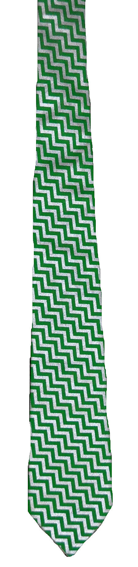 Green with Silver Chevron - Handmade Men's Necktie