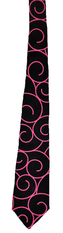 Black with Pink Swirls - Handmade Men's Necktie