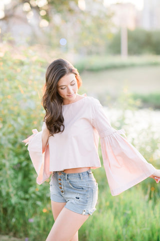 Free People - Mauve Ruffle Crop