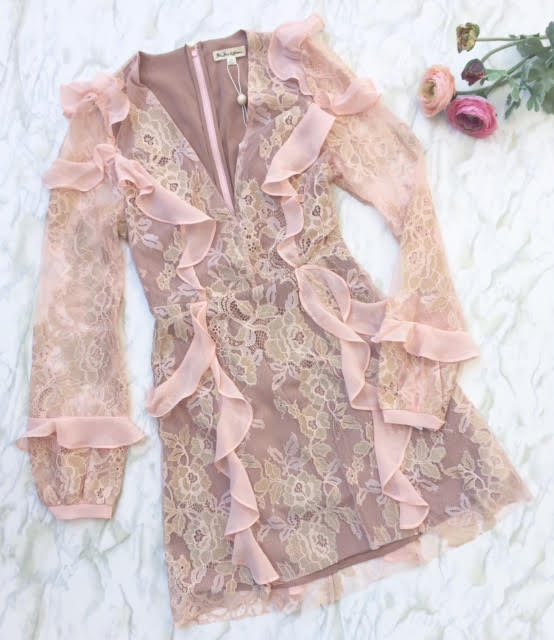 For Love and Lemons - Bumble Long Sleeve Ruffle Dress - Black and Blush