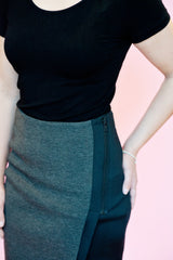 Two-Tone Pencil Skirt