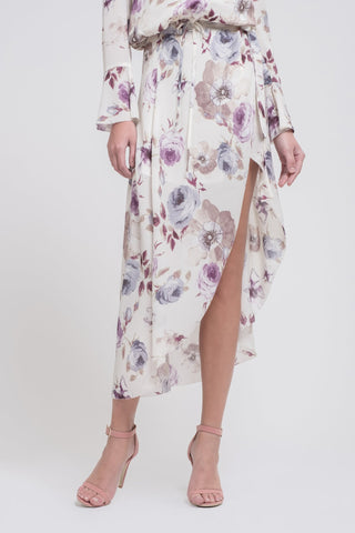 Mia High-Low Wrap Skirt-Floral