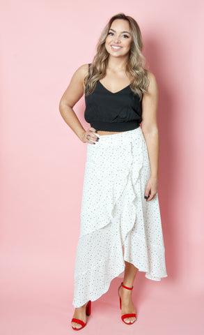 Black and White Polkadot Skirt