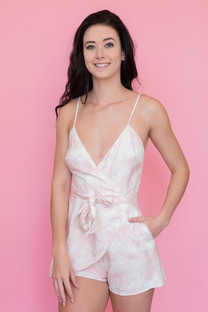 The Jetset Diaries - Blush Marbled Topanga Romper