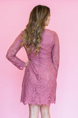 Makenna Lace Dress in Dusty Rose