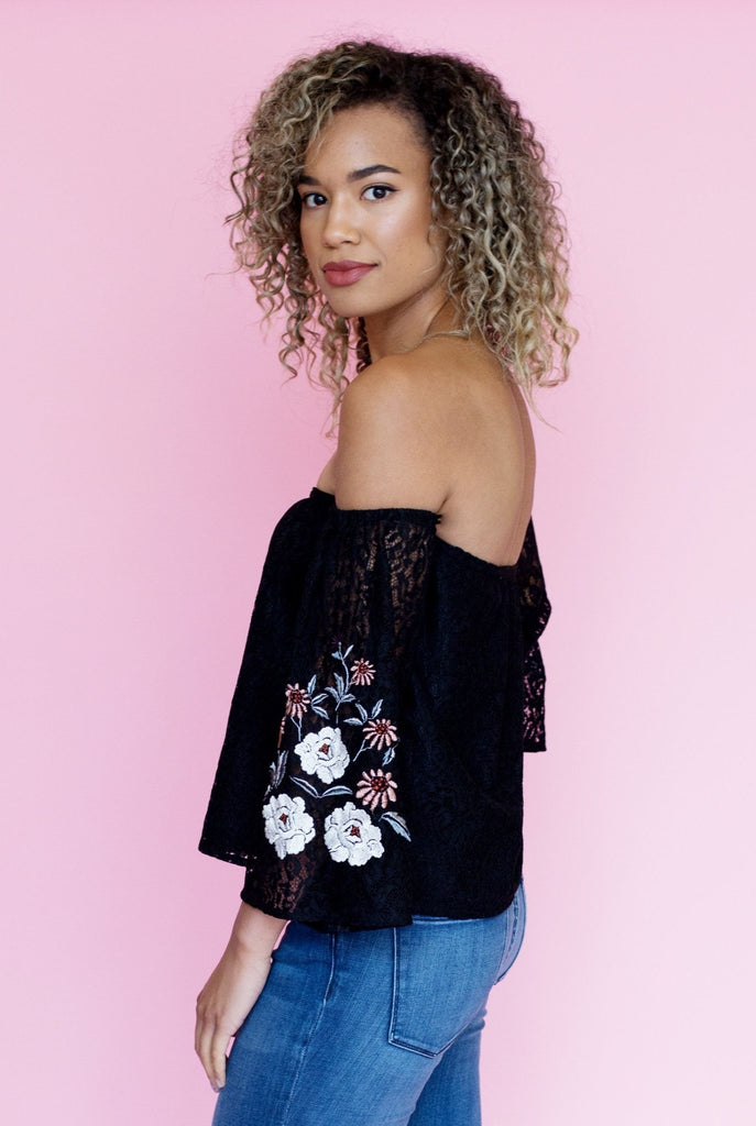 Valentina Embroidered Lace Off-the-Shoulder Top