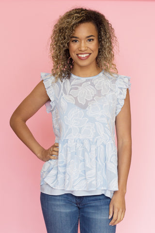 Lucien Embroidered Peplum Blouse