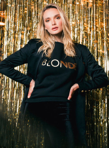 BTL Holiday Collection - Blonde Crew in Black & Gold