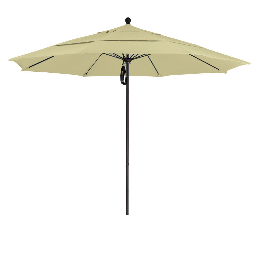 11 Foot Olefin Fabric Aluminum Pulley Lift Patio Patio Umbrella with Bronze Pole, 20 Colors