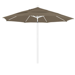 11 Foot Sunbrella 2A Fabric Aluminum Pulley Lift Patio Patio Umbrella with White Pole