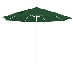 11 Foot Sunbrella 3A Fabric Aluminum Pulley Lift Patio Patio Umbrella with White Pole