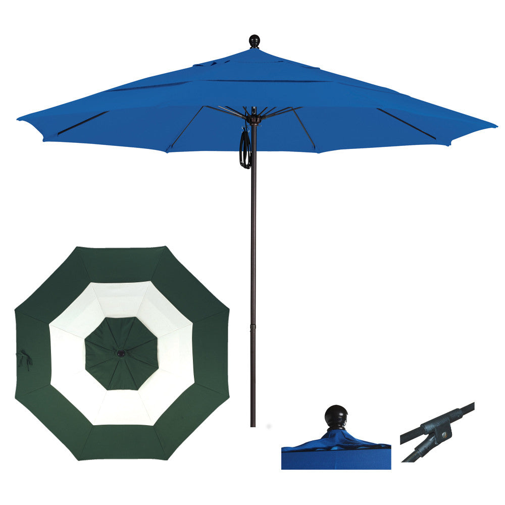 11 Foot Sunbrella Fabric Aluminum Pulley Lift Patio Patio Umbrella, Middle Accent