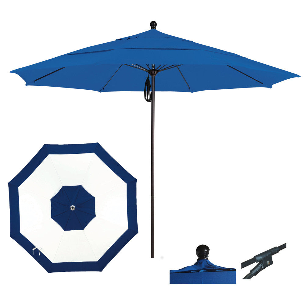 11 Foot Sunbrella Fabric Aluminum Pulley Lift Patio Patio Umbrella, Edge Design