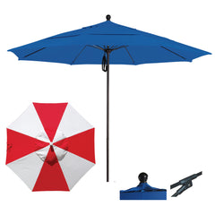 11 Foot Sunbrella Fabric Aluminum Pulley Lift Patio Patio Umbrella, Alternating Panel