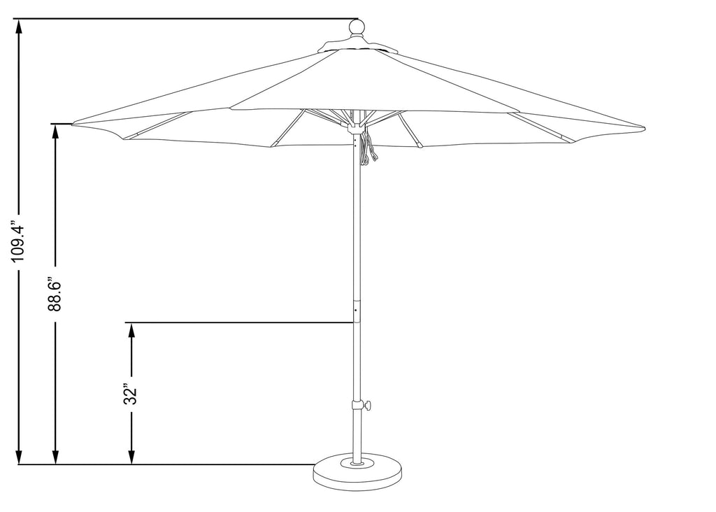 11 Foot Sunbrella 1A Fabric Aluminum Pulley Lift Patio Patio Umbrella with White Pole