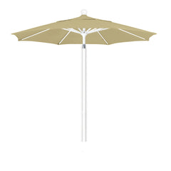 7 1/2 Foot Sunbrella 3A Fabric Aluminum Pulley Lift Patio Patio Umbrella with White Pole