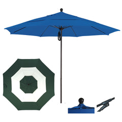 7 1/2 Foot Sunbrella Fabric Aluminum Pulley Lift Patio Patio Umbrella, Middle Accent
