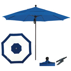 7 1/2 Foot Sunbrella Fabric Aluminum Pulley Lift Patio Patio Umbrella, Edge Design