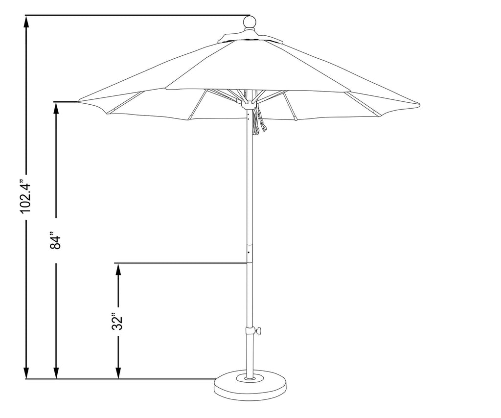 7 1/2 Foot Sunbrella 5A Fabric Aluminum Pulley Lift Patio Patio Umbrella with White Pole