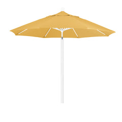 9 Foot 2A Sunbrella Fabric Aluminum Pulley Lift Patio Patio Umbrella with White Pole