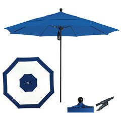 9 Foot Sunbrella Fabric Aluminum Pulley Lift Patio Patio Umbrella, Edge Design