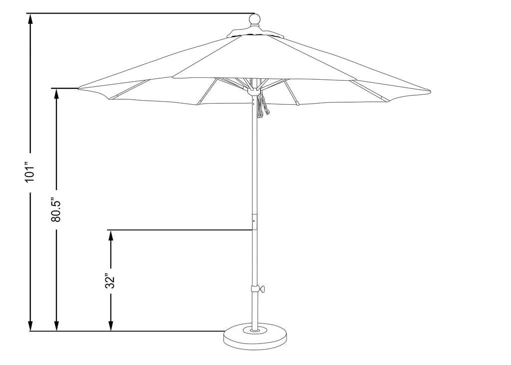 9 Foot 3A Sunbrella Fabric Aluminum Pulley Lift Patio Patio Umbrella with Silver Pole