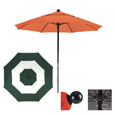 7 1/2 Foot Sunbrella Fabric Complete Fiberglass Frame Pulley Lift Patio Patio Umbrella, Middle Accent