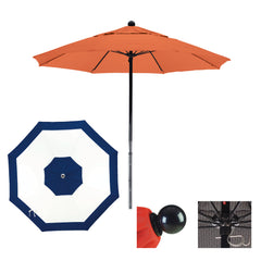 7 1/2 Foot Sunbrella Fabric Complete Fiberglass Frame Pulley Lift Patio Patio Umbrella, Edge Design