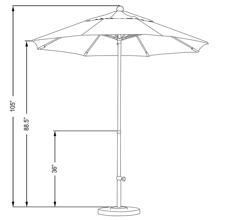 7 1/2 Foot Sunbrella 2A Fabric Complete Fiberglass Frame Pulley Lift Patio Patio Umbrella