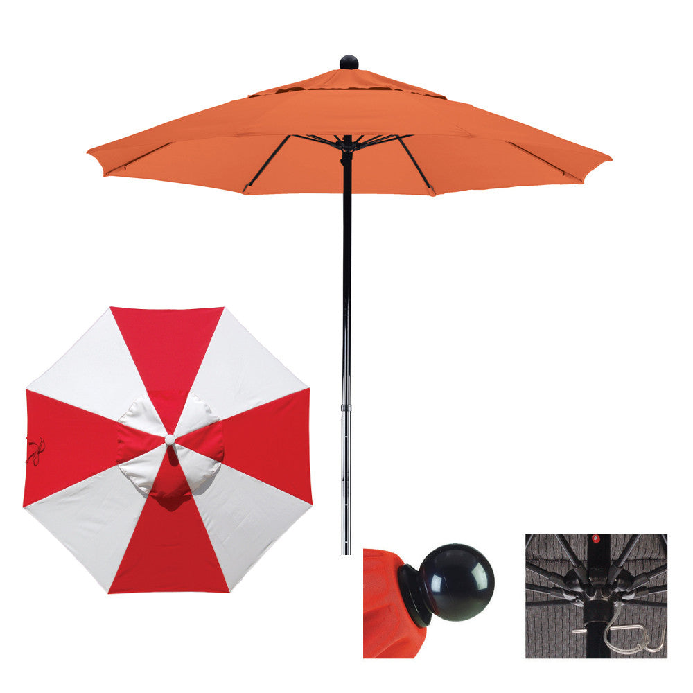 9 Foot Sunbrella Fabric Fiberglass Pulley Lift Patio Umbrella, Alternating Panel
