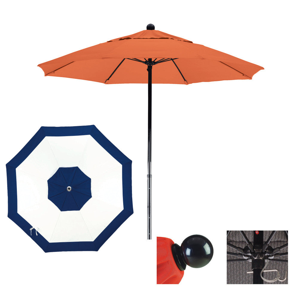 9 Foot Sunbrella Fabric Complete Fiberglass Frame Pulley Lift Patio Patio Umbrella, Edge Design